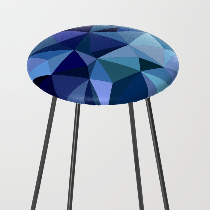 Blue triangles Counter Stool by davidzydd | Society6