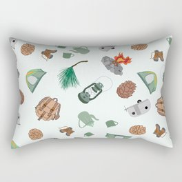 Rustic Campsite Illustration Rectangular Pillow