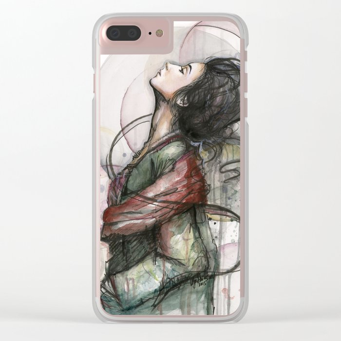Beauty Illustration Beautiful Woman Feminine Portrait Clear iPhone Case