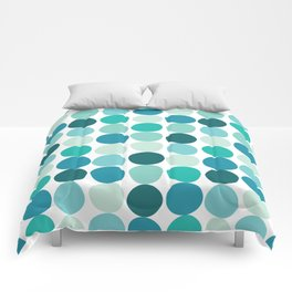 Midcentury Modern Dots Blue Comforters