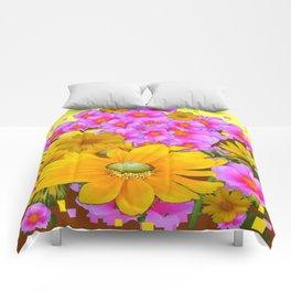 MODERN RAZZLE-DAZZLE PINK-YELLOW FLORALS Comforters