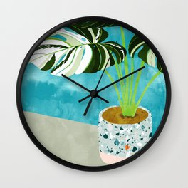 Variegated Monstera #tropical #painting #nature Wall Clock