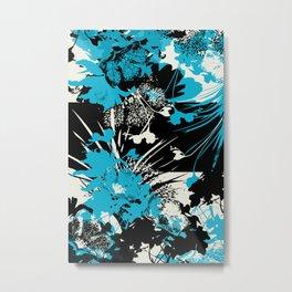 tropical flower silhouettes in sky blue Metal Print