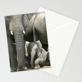 Cute little elephants in elephant herd Stationery Cards