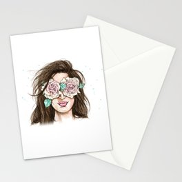 white roses in their eyes (female version) Stationery Cards