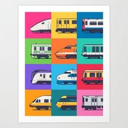 World Trains Grid Pattern Art Print