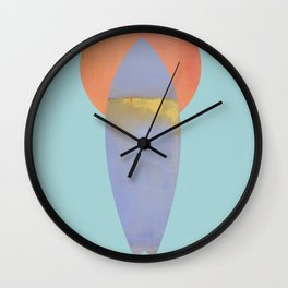 Surfboard and Sunrise, west-coast, pacific, surfing art Wall Clock