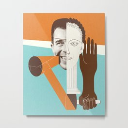 the face - funny abstract collage of Faces and Hands illustration Metal Print