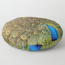Peacock Spreading Feathers Floor Pillow
