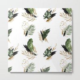 Tropical leaf & gold Metal Print
