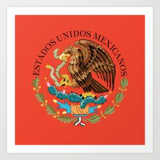 Mexican seal Authentic version set against an Adobe red background Art Print