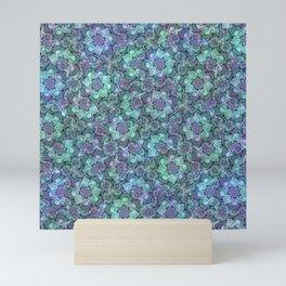 Blue Sedum Spiral Pattern Mini Art Print