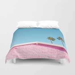 Pink House Roofline with Palm Trees (Palm Springs) Duvet Cover