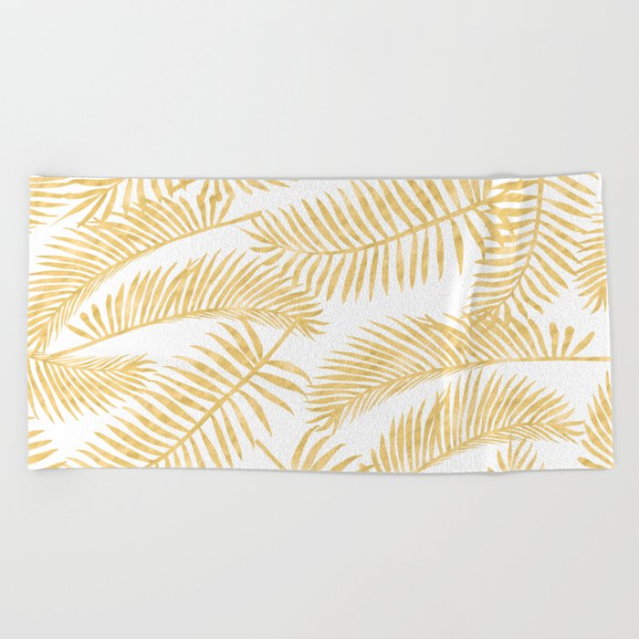 Palm Leaf Pattern Gold Beach Towel