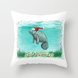 """Seas and Greetings ~ """"Mossy Manatee"""" by Amber Marine ~ Watercolor ~ (Copyright 2016) Throw Pillow"""
