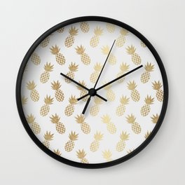 Gold Pineapple Pattern Wall Clock