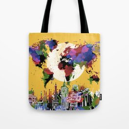 world map watercolor yellow Tote Bag