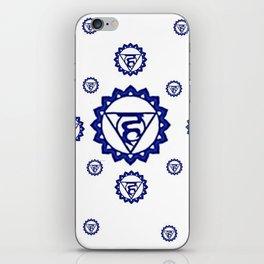 "BLUE SANSKRIT CHAKRAS PSYCHIC WHEEL "" SPEAK"" iPhone Skin"