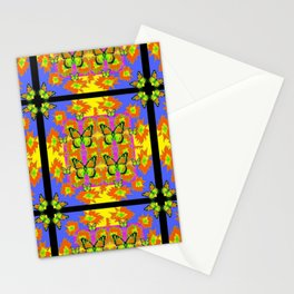 BLACK BARS MONARCH BUTTERFLIES BLUE=YELLOW DECORATIVE ART Stationery Cards