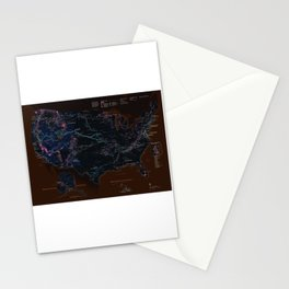 National Parks Trail Map Dark Neon Stationery Cards