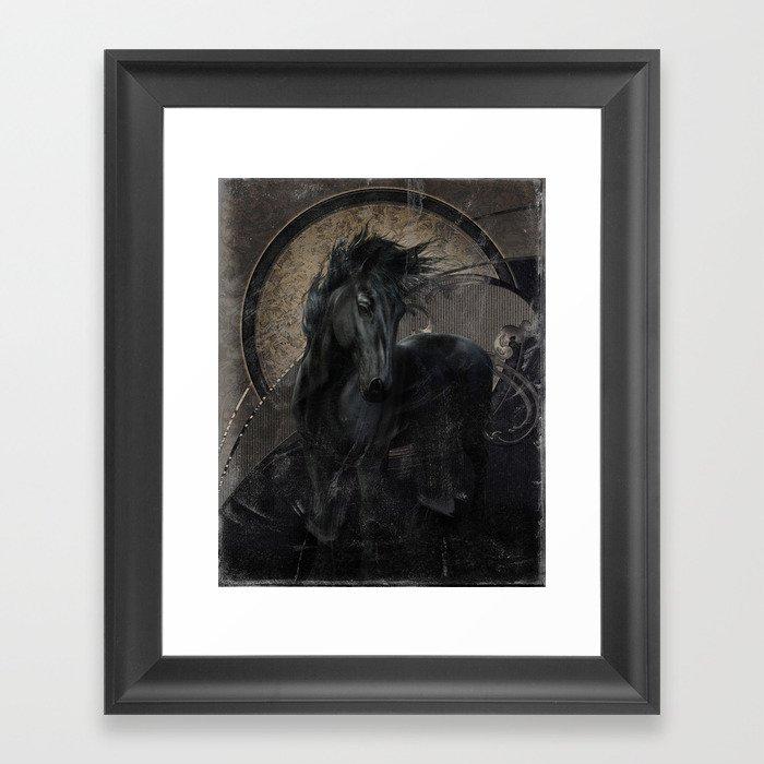 Gothic Friesian Horse Framed Art Print by simonegatterwe | Society6