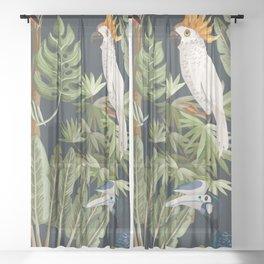 Exotic Bird & Leaf Pattern Sheer Curtain