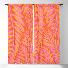 Hot Tropics - Orange Pink Tropical Vines Blackout Curtain