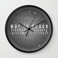 1984 Wall Clocks featuring 1984 by Gianne DJ