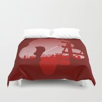 baymax Duvet Covers featuring Baymax Cityscape by Travis Love