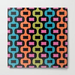 Colorful Mid Century Modern Ogee Pattern 337 Metal Print