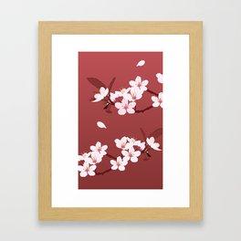 Sakura on red background Framed Art Print