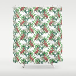 Cute Watercolor Winter Green Foliage red berries Shower Curtain