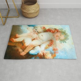"Jean-Honoré Fragonard ""Three Putti crowned with flowers"" Rug"