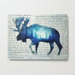 Double Exposure Moose | Night Sky Forest | Trees | Book Page | Vintage Art Metal Print