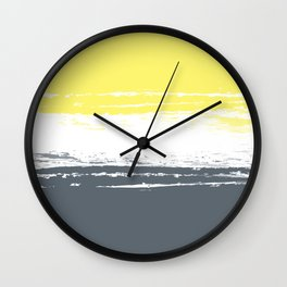 Color Blocks Pairing - Yellow & Petroleum Blue Wall Clock