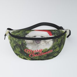 White Poodle Santa Claus - Wreath Merry Christmas  Fanny Pack