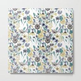 Modern Gray Yellow Floral Watercolor Pattern Metal Print