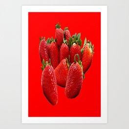 Luscious Ripe Strawberries on Red Art Print