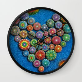 Mandala Stone Love Heart Wall Clock