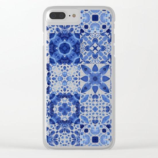 Indigo Watercolor Tiles Clear iPhone Case