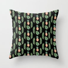 PINEAPPLES AND LEAVES BLACK Throw Pillow