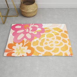 Summer Floral / Pink and Gold Rug