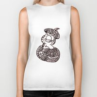 garfield Biker Tanks featuring 37. Garfield in Henna Pumpkin @ Halloween  by Hennaart yume by kat
