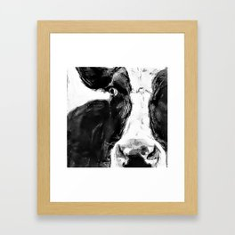 Black and White Cow - Dairy Cow - Farm Animal - Holstein Cow Framed Art Print