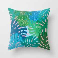 Colorful monstera leaves 3 Throw Pillow