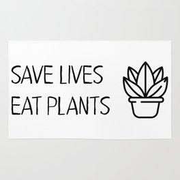 Save lives eat plants Rug
