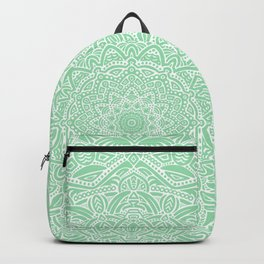 Most Detailed Mandala! Mint Green Color Intricate Detail Ethnic Mandalas Zentangle Maze Pattern Backpack