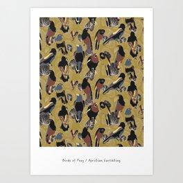 Birds of Prey in Gold Art Print
