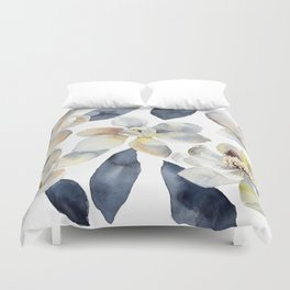 White Magnolias Watercolor Design Magnolia Grandiflora Floral Design Duvet Cover
