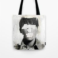 mouth Tote Bags featuring Faceless | number 02 by FAMOUS WHEN DEAD